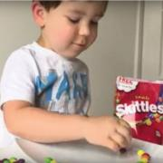 Kids science experiment skittles